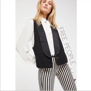 Free People mod black tuxedo Tux vest S